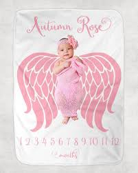 Baby Girl Milestone Blanket Angel Wings Blanket Newborn Photography Backdrop Month Growth Chart Blanket Personalized Girl Shower Gift