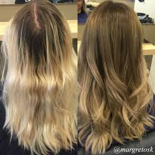 Light Brown Roots Dark Brown Hair Before And After Coloring From Really Blonde Ends With
