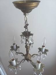 antique chandelier brass with 30 large and 30 small crystals rewired