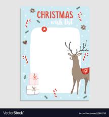 Cute Christmas Greeting Card Wish List Reindeer Vector Image