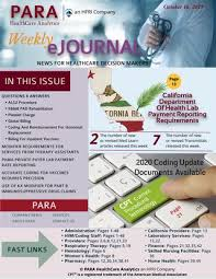 Para Healthcare Analytics Weekly Ejournal October 16 2019