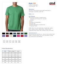 Gildan Shirt Color Chart 2016 Anvil T Shirt Size Chart Rldm