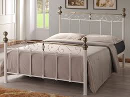 omeros cream metal bed frame with antique brass