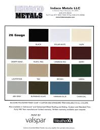 7 Metal Colors Roof Sheet Color Chart Sheet