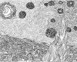 Small Picture The Starry Night in Famous Paintings Coloring Page Batch Coloring