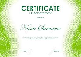 Certificate Of Achievement Template With Green Digital Curved