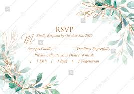 Rsvp Wedding Invitation Set Gold Leaf Laurel Watercolor Eucalyptus Greenery Pdf 5x3 5 In Edit Template