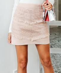 all gone pink tassel lace faux leather skirt