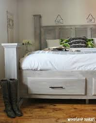 Diy king size beds Pedestal How To Build Diy Farmhouse King Size Storage Bedfree Plans Tutorial Woodshop Diaries Diy Farmhouse Storage Bedfree Woodworking Plans And Video Tutorial