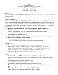 Nurse Technician Resume Patient Care Technician Resume Example