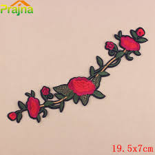 <b>ZOTOONE</b> Large Applique Embroidery <b>Flower Patch</b> Red Rose ...