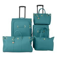 joy mangano christie teal leather luggage