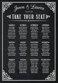 Standard Seating Chart Size Wedding Seating Plan Chart Chalkboard Poster Print Sign