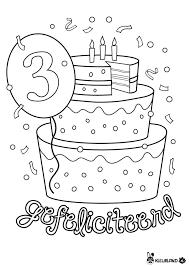 Verjaardagstaart 3 Jaar Kleurlandnl Verjaardag Birthday