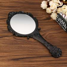 hand holding antique mirror. 1 Piece Big Black White Plastic Vintage Hand Mirror Floral Rose Oval Round Cute Women Makeup Vanity With Handle For Gifts-in Mirrors From Holding Antique