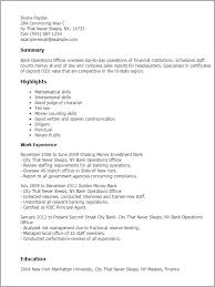 My Perfect Resume Templates Custom Professional Bank Operations Officer Templates to Showcase Your