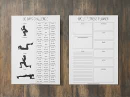 Work Out Journal Fitness Planner Printable Workout Journal Health Planner