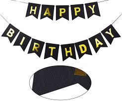 Amazon Com Brcohco Happy Birthday Banner Sparkly Black
