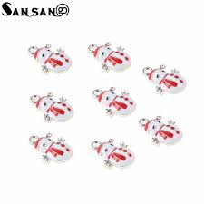<b>10pcs</b> Trendy Alloy Single Side Enamel Art <b>Oil Drop</b> Cute Snowman ...