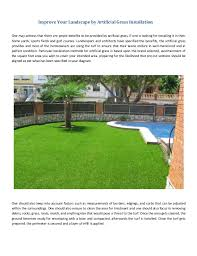 artificial grass installation. Improve Your Landscape By Artificial Grass Installation One May Witness That There Are Ample Benefits To