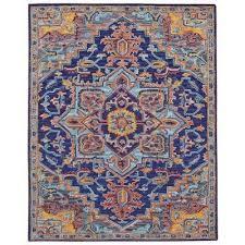 boho hand tuffted wool rug 160x230cm blue violet
