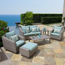 best collection patio furniture wicker love seat with portofino patio furniture and light blue cushion sofa