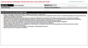 dietary manager job description dietary manager free career templates downloads job titles