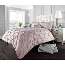 alford pink pintuck cotton blend duvet set