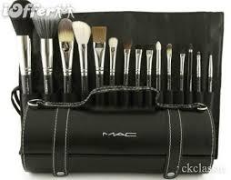 brand new 15pcs makeup brush set with leather bag mac