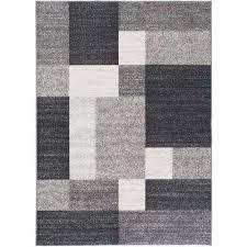modern boxes design non slip non skid gray area rug 5 ft