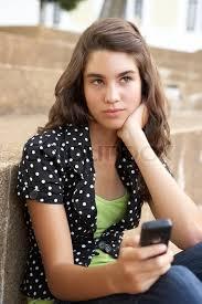 Unhappy Female Teenage Student Sitting Stock Photo Colourbox