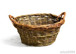 A laundry basket made using wicker process.