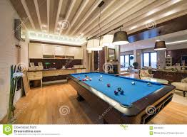 Luxury Living Room Interior Of A Luxury Living Room With Pool Table Stock Photo