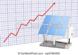 Solar Panel Chart Solar Panels With Growing Chart 3d Rendering