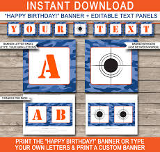 Blue Camouflage Party Decorations Nerf Printables Blue Camo Editable Birthday Party Templates