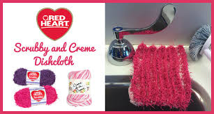 Red Heart Scrubby Pattern Stunning Scrubby And Creme Dishcloth Red Heart Blog