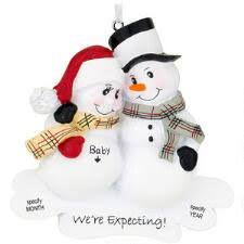 Personalized We're Expecting Snowman Couple Ornament