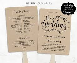 Wedding Program Fans Cheap Printable Wedding Program Template Rustic Wedding Fan Program