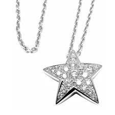 chanel comete star diamond white gold pendant necklace for