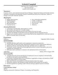 General Manager Manager Resume Restaurant Resume Resume