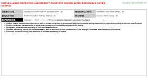 Liaison Inspection Laboratory Assistant Resume | Resumes Templates ...