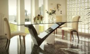 fashionable square glass dining table designs with check shaped kitchen table