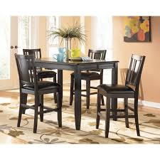 pub style kitchen dinette decor with counter height dining table furniture square espresso colored wooden