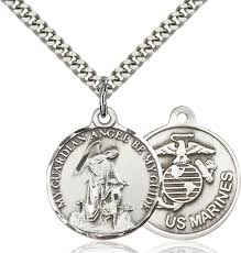 sterling silver guardain angel marines medal necklace for men 24 curb chain pendant 7 8 x 3 4