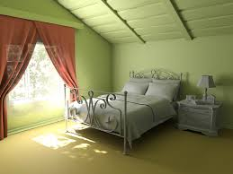 Bedroom:Green Bedroom Attic Design Idea With Big Glass Window And Red  Curtain Awesome Attic