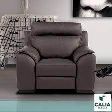 calia italia serena power recliner grey italian leather armchair