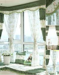 Decorative Bay Window Curtains In Beige and Green Color With Floral Pattern