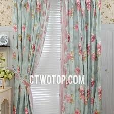 Sage Green Floral Country Shabby Chic Romantic Bedroom Curtains With Pink  Flowers