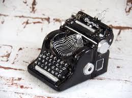 Schreibmaschine Glas Schwarz Christbaumschmuck