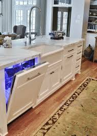 thermador dishwasher. a dishwasher panel perfectly masks this thermador dishwasher. check out the electric blue lighting!